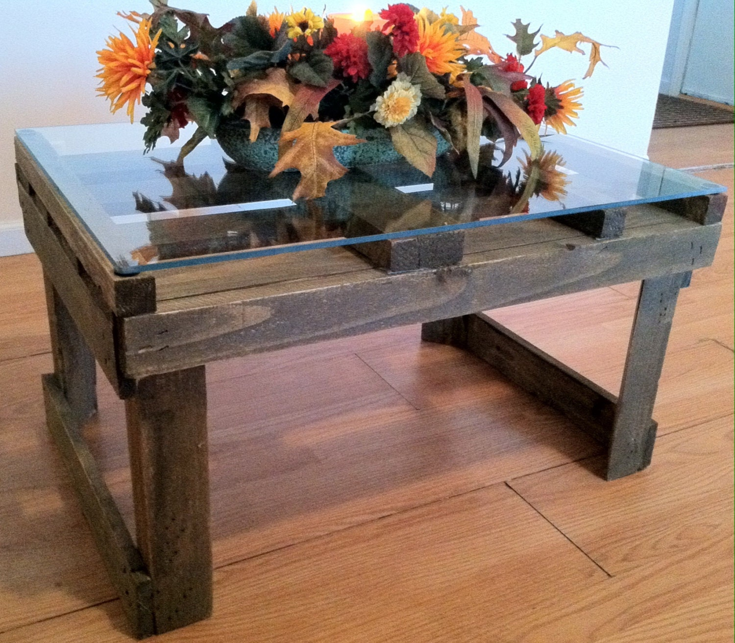 Glass Coffee Tables Etsy: Reclaimed Crate Coffee Table With Glass Top By Kustomwood