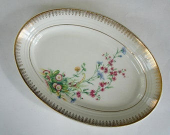 French Vintage Oval Plate with Floral and Gold design, St Amand Porcelain, French Porcelain Dish, Small Oval Plate, Floral Porcelain