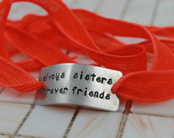 "Sister Jewelry / Sister Gift / Sister Present / Sister Birthday / Sister Gift / ""Always Sisters, Forever Friends"" Bracelet  / Silk Wrap"