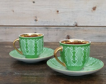 Home decor, Vintage green and gold Cup and Saucer - Set of Two