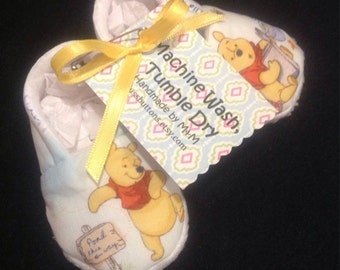 Winnie The Pooh Baby Booties 0-3 or 6-12 Mo For A Baby Girl or Boy Handmade
