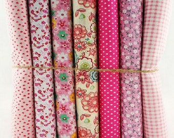 Fat Quarter Bundle 7 Pink Floral Mix  Set 100% Cotton Fabric Fat Quarters Craft Bunting Patchwork Sewing