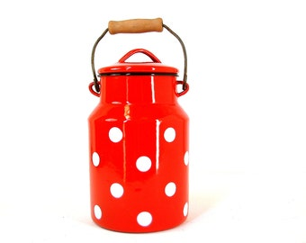 French country vintage red enamel milk pail with white polka dots.