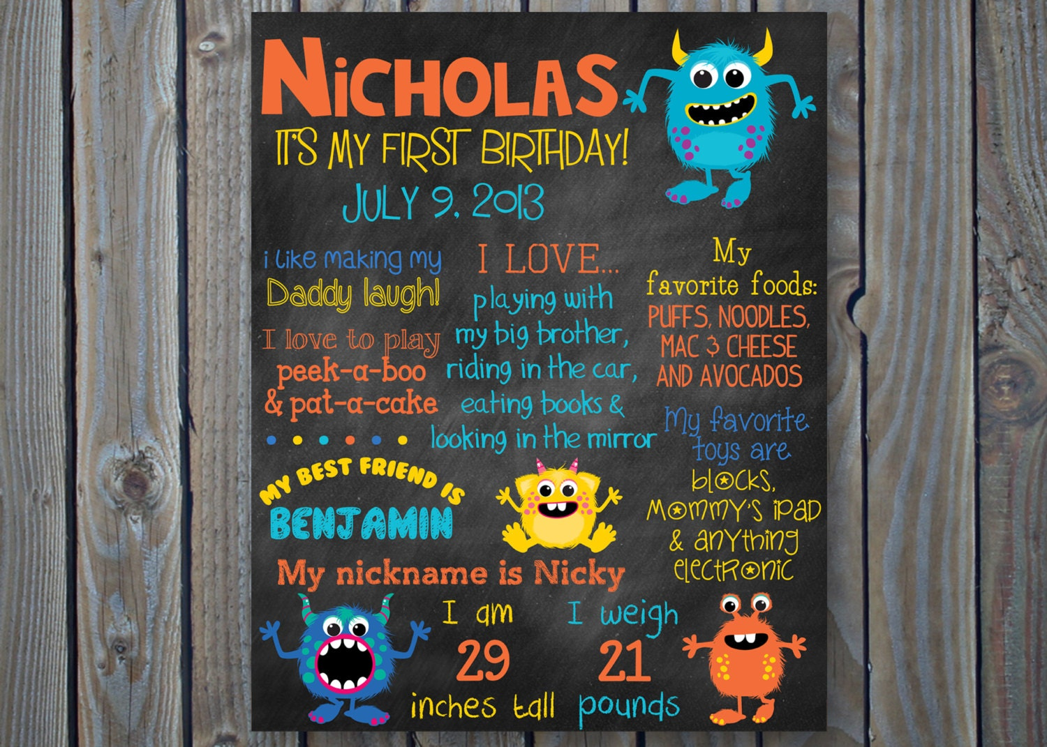 monster sign in birthday board holidays
