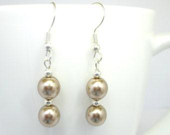 Cocoa pearl earrings, wedding earrings, bridal jewelry, cocoa earrings, bridesmaid earrings,