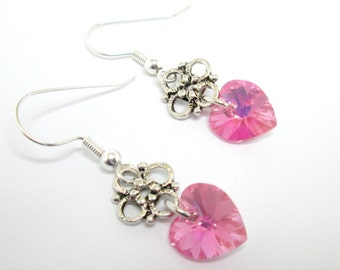 Pink heart earrings, swarovski heart, valentine earrings, pink and silver, rose heart, rose AB, heart earrings, heart jewelry, ER011