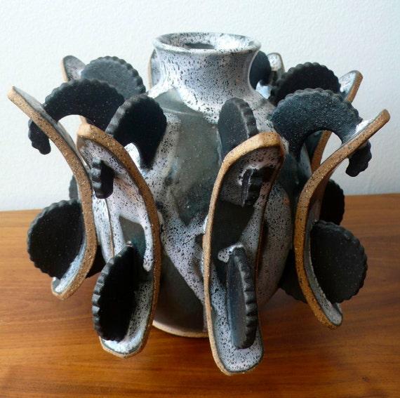 Handmade Small Round Stockade Vase - Wheel Thrown and Hand Built - Sculpture - Fuctional - Art