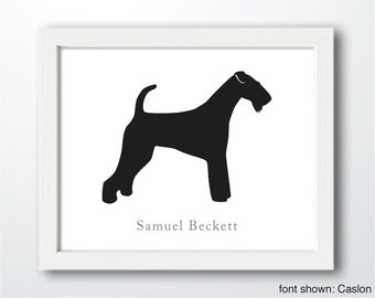 Personalized Hand-Cut Airedale Terrier Silhouette with Custom Name - Airedale art, dog portrait, dog home decor, dog gift