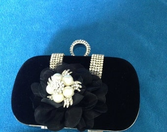 Evening Bag, Black Velvet Evening Bag, Black Clutch Bag, Crystals, Pearls, Black Evening Bag