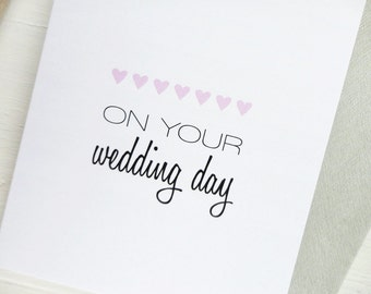 On your wedding day greeting card pink hearts wedding gift typography romantic