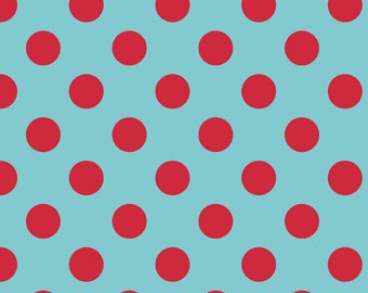 Aqua Red Dot Fabric Medium 1 1/2 Yards Riley Blake Polka Dots