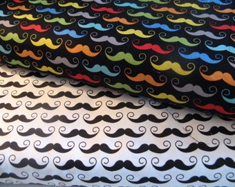 Riley Blake Mustache Fabric Bundle - 1/2 Yard Each Geekly Chic Riley Blake Geekly Mustache Black Cream Cotton Fabric Moustache