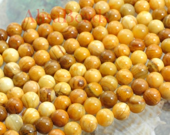 African Yellow Jade,smooth round,6 mm,beads,15 inches