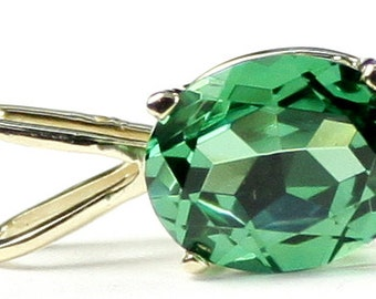 P002, 10x8mm, 3.3 ct, Created Emerald Spinel, 14KY Gold