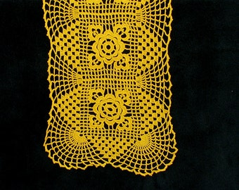 Vintage Crochet Doily Yellow rectangle Lace napkin Home Decor christmas Gift