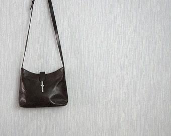 Vintage brown leather handbag,  genuine leather bag, vintage natural leather bag, 80s, vintage natural leather bag,