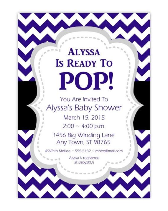 baby shower invitation she 39 s ready to pop invite navy blue chevron