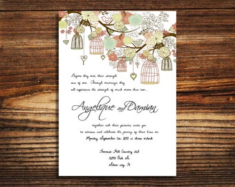 wedding invitations Bird cage spring summer wedding invite