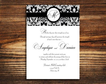 Wedding invitation damask suite, black and white invitations,  paper goods