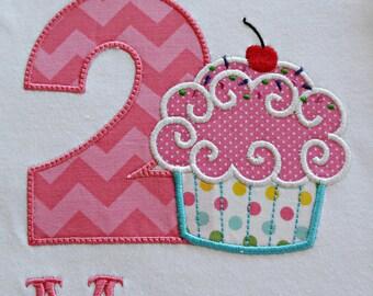 Birthday Cupcake Applique Shirt, Children's Clothing, Birthday, Applique, Embroidery, Cupcake, Kid's and Toddler's, Happy Birthday, Party