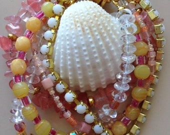 Multistrand Rose and Clear Quartz, and Various Specialty Beads Bracelet  with Magnetic Clasp