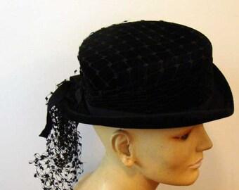 Edwardian hat, vintage derby hat, black derby hat, goth hat, chevalier derby hat, english riding hat