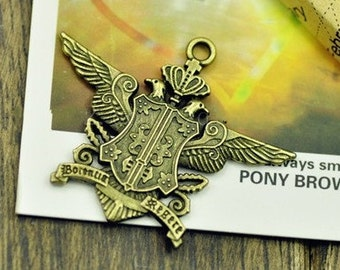 badge charms-10pcs of Antiqued bronze  the royal badge  charm pendant 42 x34mm