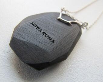 Geometric Ebony Pendant. Fine Art-to-Wear Jewelry.