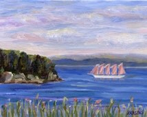 Sailing in Bar Harbor Maine, original 6x8 inch oil on canvas board painting, Pamela Parsons, Maine coast painting, Margaret Todd Windjammer