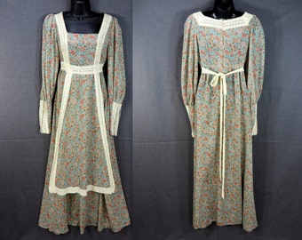 70s Jessica GUNNE SAX Maxi Dress. Semi Sheer Calico Floral Print. Lace Trim Empire Waist Puff Sleeves. Prairie Renaissance Vintage size S
