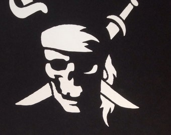 Ghost Skull and Swords Car Decal. Skull Car Decal. Jolly Roger Car Decal. Pirate Car Decal.