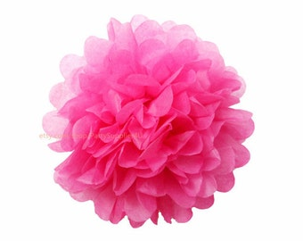 Wedding Decor * Hot Pink Tissue Paper Pom Poms * 1 Large Hanging Pom Poms Decorations for bridal shower,birthday party,shower,nursery