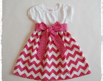 Pink chevron dress**Toddler girls spring summer fall dress**Girls chevron dress, sash**Pink zig zag dress**Size 12 mos., 2t, 3t, 4t, 5t