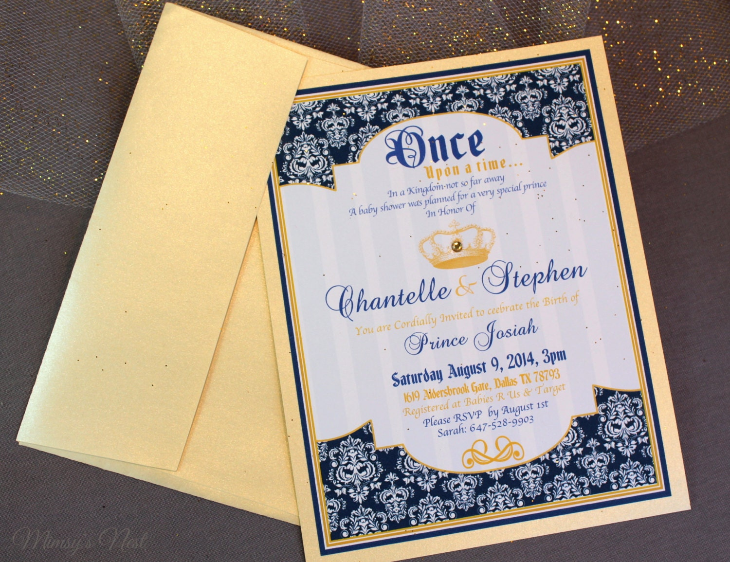 set of 12 royal blue and gold prince baby shower by mimsysnest