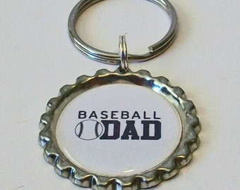 Unique Baseball Dad Metal Flattened Bottlecap Keychain Great Gift