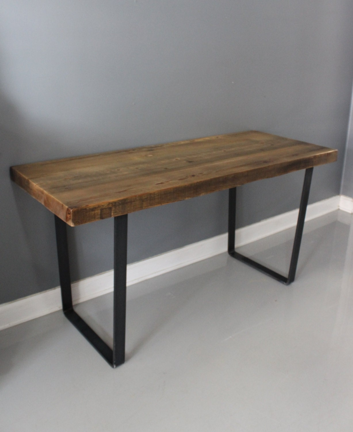 dining table reclaimed wood industrial steel thick by dendroco. Black Bedroom Furniture Sets. Home Design Ideas