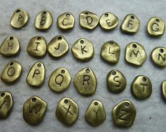 9x10MM  26 Alphabet Letter Charm Pendant Antique Bronze Charm