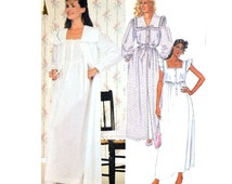 80s Womens Robe & Nightgown Pattern / LAURA ASHLEY Sewing Patterns / Long Robe Patterns / McCalls 9437 XS 1980s Vintage Sewing Patterns