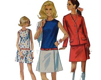 Vintage 60s Dress Pattern 1960s Mod Culotte Dress SKORT Womens Romper Shorts Patterrn Split Skirt Dress & Jacket Simplicity 8098 Bust 36