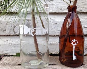 Decorated vintage bottle, upcycled, Eco friendly decor