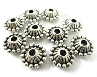 10 pc Mini Spacer Beads, Tibetan Silver Spacer Beads, Antique Silver Plated Bali Style Bead Spacer