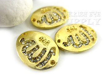 3 pc Rhinestone Allah Pendant Connector, 22K Gold Plated Allah Calligraphy Turkish Jewelry Pendants Connectors