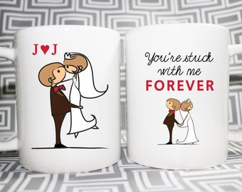Love Mug - Stuck With Me - Set of 2 -  Made to Order with Free Boxes