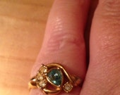 Vintage AVON  Blue and Clear Crystal Cocktail Style Ring