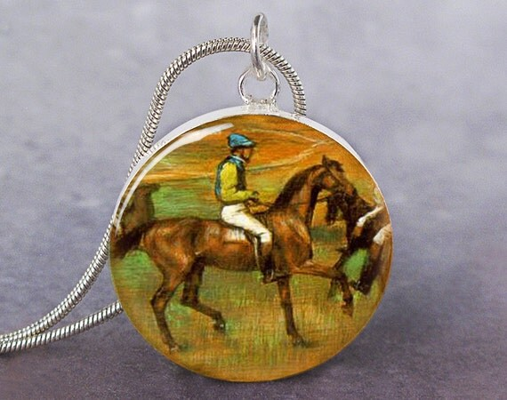 Race Horses Degas art pendant charm, equine art jewelry, Famous Horse Art jewelry, Horse Gift
