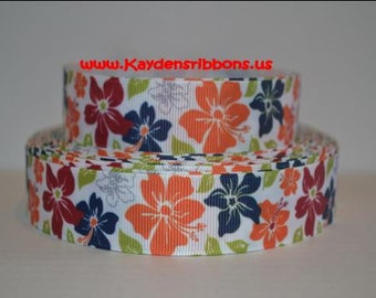3 yards Tropical Luau Hawaiin Flowers - 1 inch  - Printed Grosgrain Ribbon