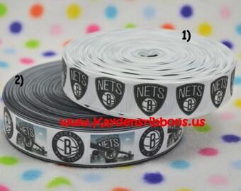 3 yards Brooklyn Nets -  7/8 inch or 1 inch - BASKETBALL - CHOOSE DESIGN - Printed Grosgrain Ribbon