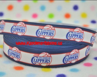 3 yards Los Angeles Clippers -  7/8 inch - BASKETBALL - Printed Grosgrain Ribbon