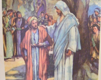 Vintage 1939 Lithograph Zacchaeus Meeting Jesus Religious Print Christian Buy 2 get 1 Free