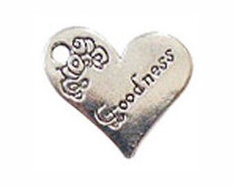 BULK 30 Silver Goodness Affirmation Heart Charm 18x21mm by TIJC SP0264B